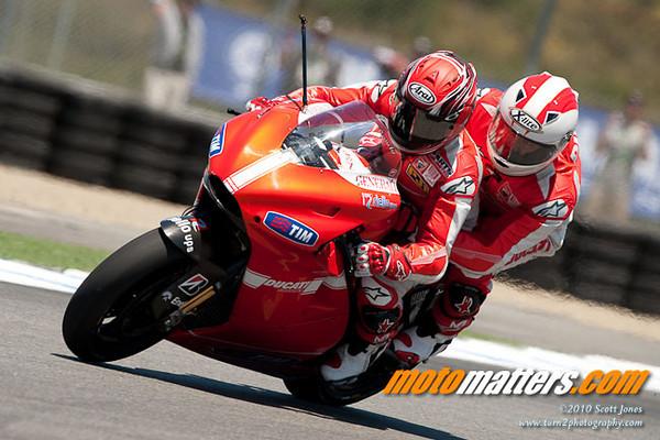 Randy Mamola rides the Ducati X2 two-seater MotoGP bike at Laguna Seca, 2010