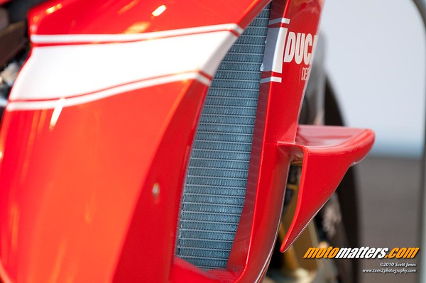Winglets on the fairing of the Ducati Desmosedici GP10 MotoGP bike at Laguna Seca