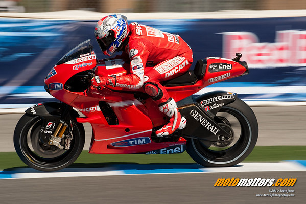 Casey Stoner on the Ducati Desmosedici GP10 at Laguna Seca