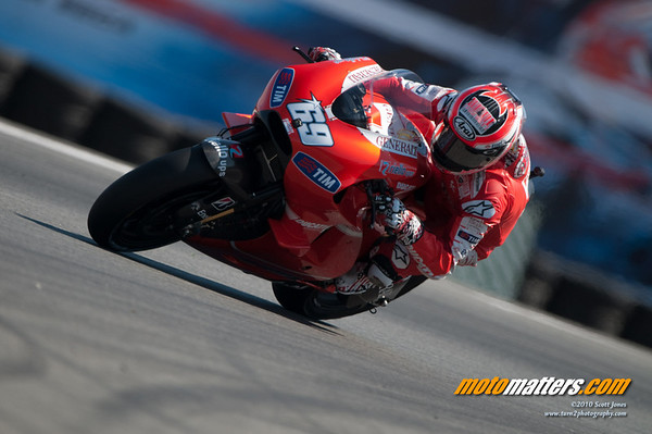 Nicky Hayden on the Ducati Desmosedici GP10 at Laguna Seca