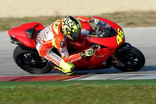 Valentino Rossi testing a Ducati 1198 Superbike at Misano