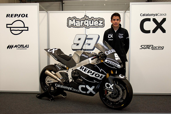 Marc Marquez and his new Moto2 machine