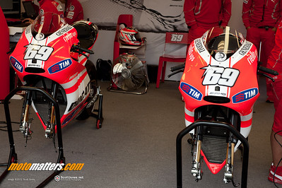 Nicky Hayden's GP11.1 Ducati Desmosedicis at Laguna Seca