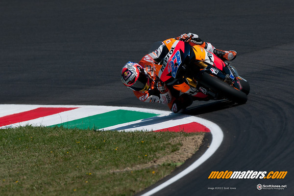 Casey Stoner sliding a bike at Mugello