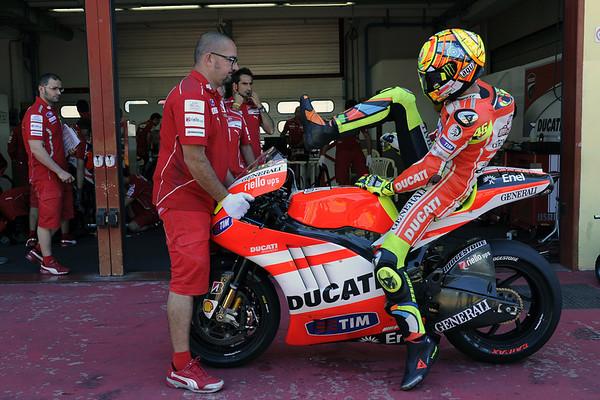 Valentino Rossi testing the Ducati GP12 at Mugello