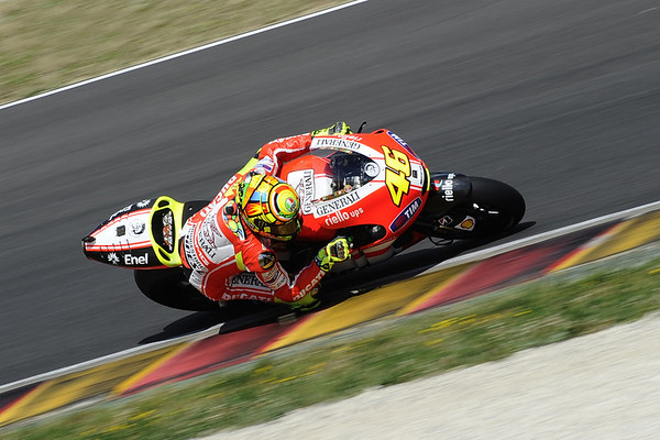 Valentino Rossi testing the Ducati GP12 at Mugello