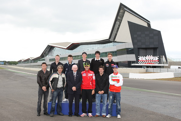 British riders and Valentino Rossi at the Silverstone Wing