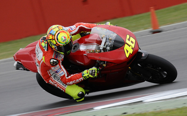 Valentino Rossi on a Ducati 1198SP WSBK machine at Silverstone