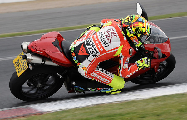 Valentino Rossi on a Ducati 1198 road bike at Silverstone