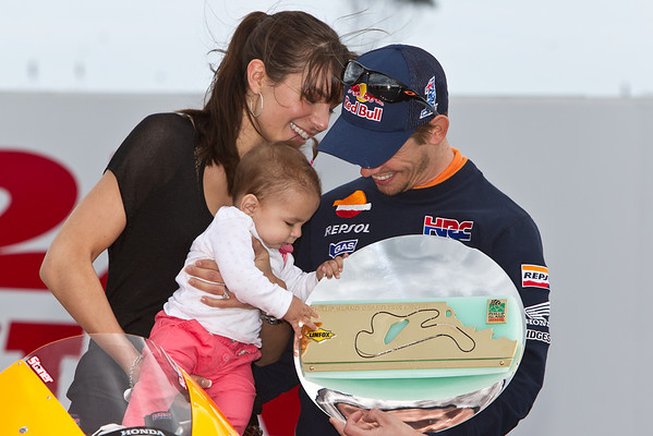 Casey Stoner, his wife Adrianna and his daughter Allie at the corner naming ceremony at Phillip Island