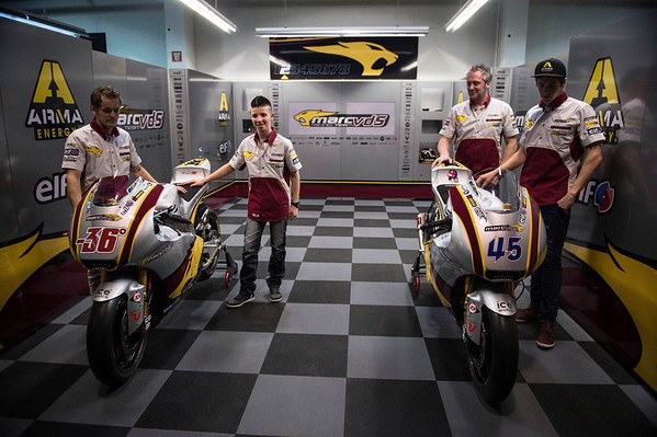 The Marc VDS Racing Team. Left to right - Mika Kallio, Livio Loi, Michael Bartholmy and Scott Redding