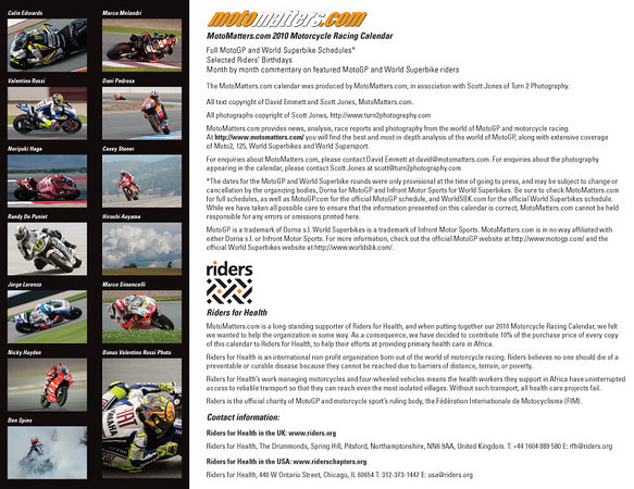 Back cover of Motomatters.com 2010 motorcycle racing calendar