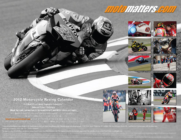 MotoMatters.com 2012 Motorcycle Racing Calendar - Back cover