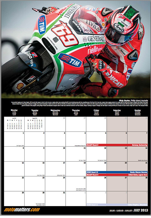 MotoMatters.com 2013 Motorcycle Racing Calendar - Monthly grid layout