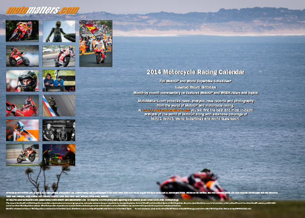 MotoMatters.com 2014 Motorcycle Racing Calendar - Back cover