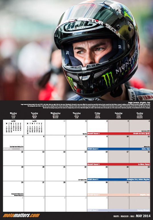 MotoMatters.com 2014 Motorcycle Racing Calendar - Monthly grid layout