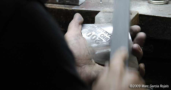 Making the MotoGP trophy - sanding the plaque