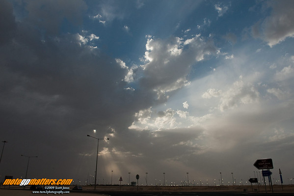 Clouds in the sky at the Losail track before the Qatar MotoGP race