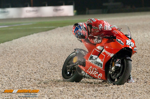Nicky Hayden's Ducati blown up during practice at the Qatar MotoGP