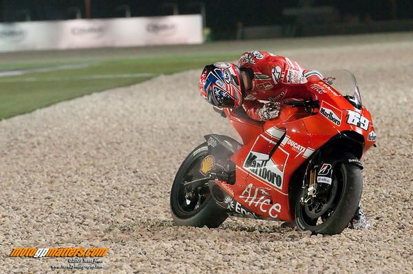 Nicky Hayden's Ducati blown up during practice at the Qatar MotoGP