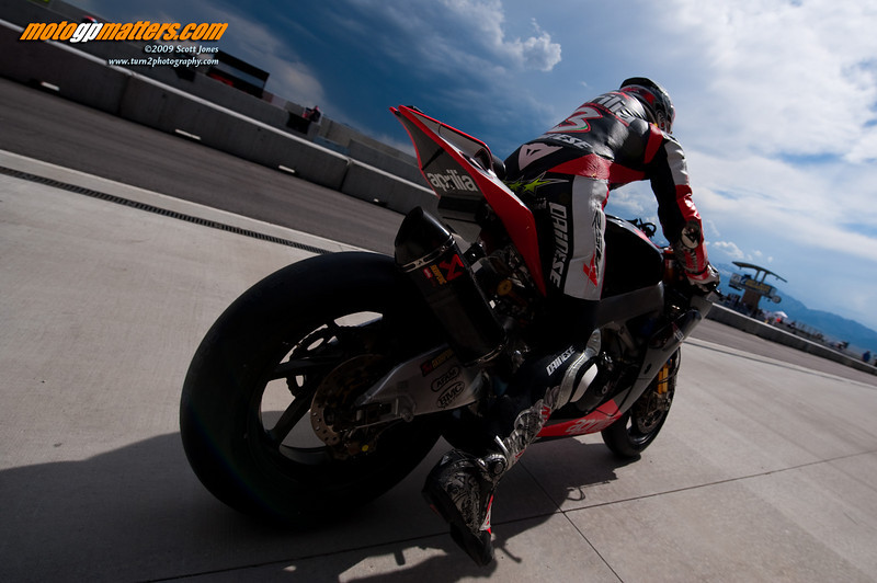 Max Biaggi about to hit the track at MMP, Utah