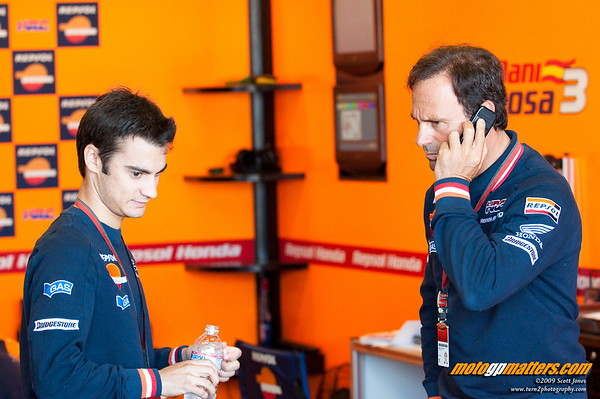 Dani Pedrosa and Alberto Puig at Laguna Seca