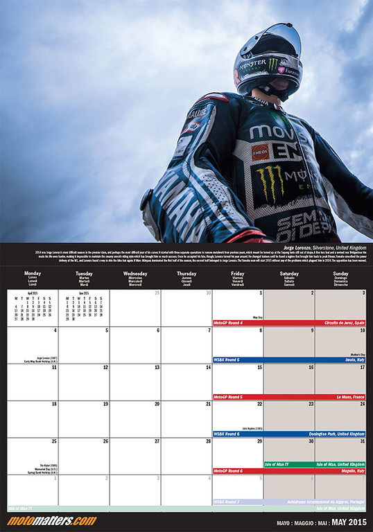 MotoMatters.com 2015 Motorcycle Racing Calendar - Monthly grid layout