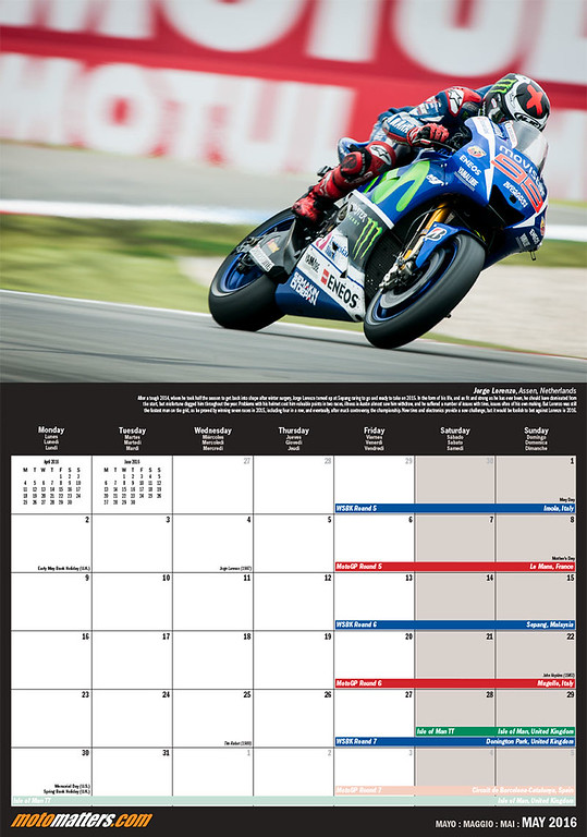 MotoMatters.com 2016 Motorcycle Racing Calendar - Monthly grid layout